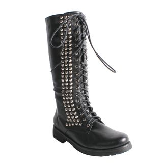 Neway by Beston Womens Camila 01 Black Studded Combat Boots