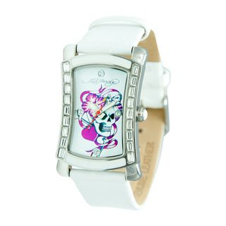 Ed Hardy Womens Stainless Steel Skull Tattoo Watch