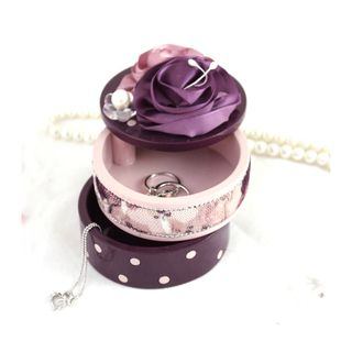 Blossom Bliss Purple Satin Flower 2 tier Jewelry Box