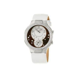 Philip Stein Womens Modern Steel and Leather Quartz Diamond Watch