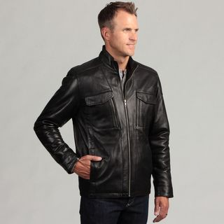 Izod Mens Lambskin Leather Jacket