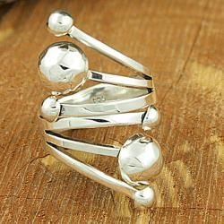 Sterling Silver Hammered Beads Finger Wrap Ring (Mexico)
