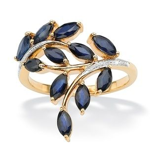 Angelina DAndrea 18k Gold over Silver 2.65ct TW Sapphire and Diamond