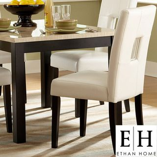ETHAN HOME Mendoza White Keyhole Back Dining Chair (Set of 2