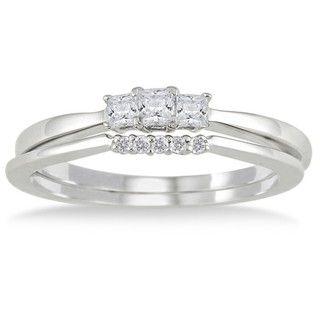 10k White Gold 1/3ct TDW Princess cut Diamond Bridal Ring Set (I J, I1