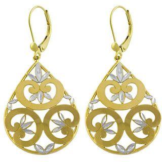 14k Two tone Gold Filigree Flower Drop Earrings