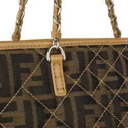 Fendi 8BH185 Medium Canvas Zucca Print Tote Bag