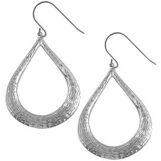 Fremada 14k White Gold Diamond cut Teardrop Earrings