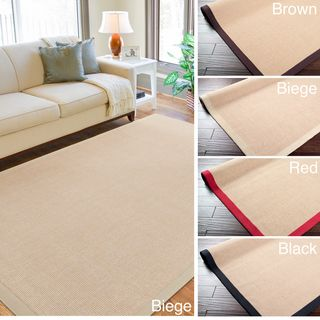 Woven Town Chocolate Sisal with Cotton Border Rug (8x10)