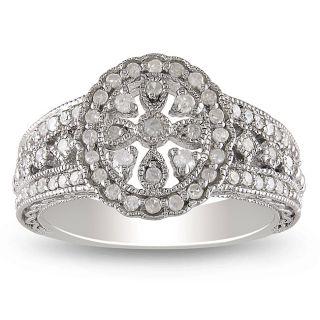 Miadora Sterling Silver 1/3ct TDW Diamond Ring