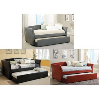 Enitial Lab Buckies Contemporary Leatherette Day Bed with Rolling with