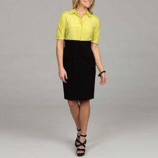 Calvin Klein Womens Green/ Black 3/4 sleeve Dress