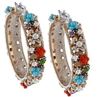 Betsey Johnson White Charm Hoop Earrings