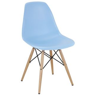 Light Blue Plastic Side Chair with Wooden Base