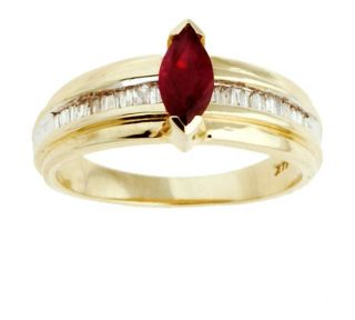 14k 1/4 ct Diamond Baguette & Marquise Ruby Ring