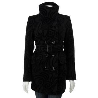 Betsey Johnson Womens Black Velvet Flocked Coat