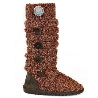 Muk Luks Crimson Side Button Detail Marled Texture Striped Boots