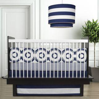 Oilo Wheels Cobalt Blue 3 piece Crib Bedding Set