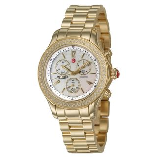 Michele Womens Jetway Goldplated Stainless Steel White Diamonds