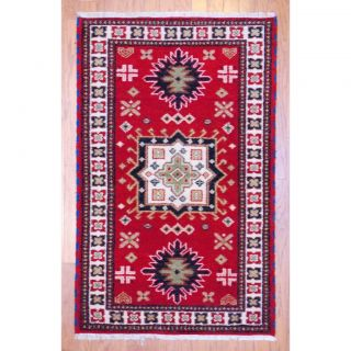 Indo Hand knotted Kazak Red/ Ivory Wool Rug (3 x 5)