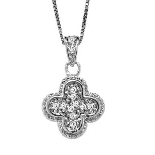 Sterling Silver 1/10ct TDW Diamond Clover Necklace (H I, I3