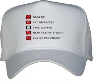 HUG MY DACHSHUND CHECKLIST White Hat / Baseball Cap