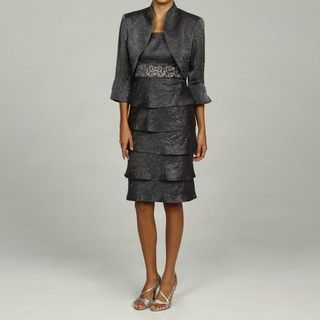 Richards Womens Silver Embroidered Jacket Dress