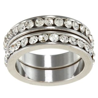 City Style Silvertone Clear Crystal 2 piece Stackable Band Set