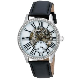 August Steiner Womens Crystal Skeleton Automatic Strap Watch