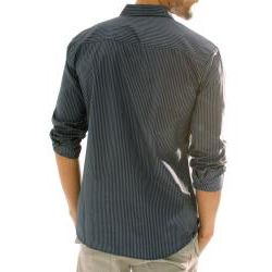 191 Unlimited Mens Black Stripe Embroidered Shirt