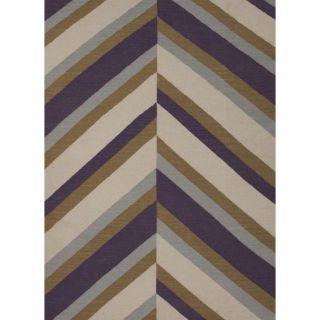 Handmade Flat Weave Stripe Purple Wool Rug (36 x 56) Today $98.99