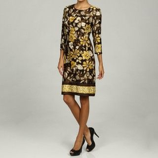 Chetta B Womens Black/ Khaki Floral Print Dress