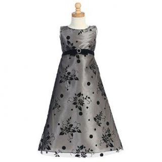 Little Girl Black Silver Flocked A Line Holiday Dress 4