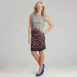 London Times Womens Printed Ponte Dress