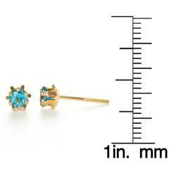 14k Yellow Gold Topaz Birthstone Earrings