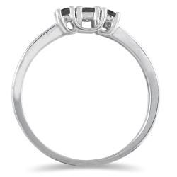 10k White Gold 1/4ct TDW Black Diamond 3 stone Ring