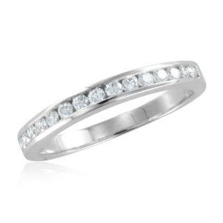 Channel Set Diamond Wedding Ring in 14k White Gold Band (G