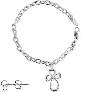 Jessica Simpson Sterling Silver Diamond Accent Cross Charm Bracelet