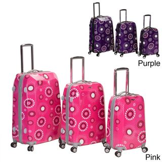 Rockland Vision Pink Circles Light Weight 3 piece Hardside Spinner