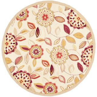 Hand hooked Chelsea Floral Garden Ivory/ Pink Wool Rug (4 Round