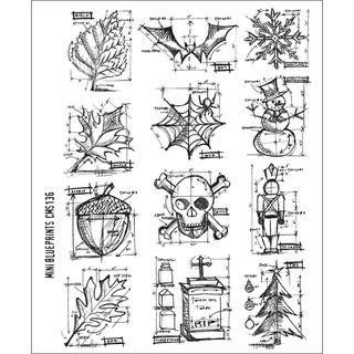 Tim Holtz Large Cling Rubber Stamp Set Mini Blueprint