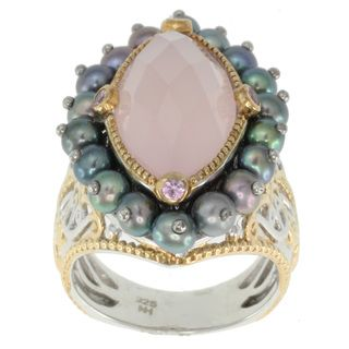 Michael Valitutti Two tone Pink Agate, Pearl and Pink Sapphire Ring