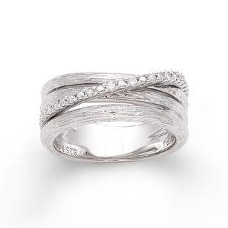 Sterling Silver 1/6ct TDW Diamond Three row Crossover Ring (H I, I2 I3