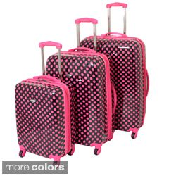 American Travel 3 piece Polka Dot Expandable Lightweight Hardside