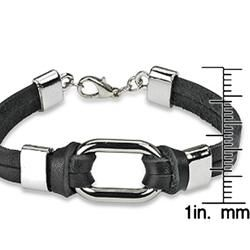 Steel Link and Double Black Leather Strap Bracelet