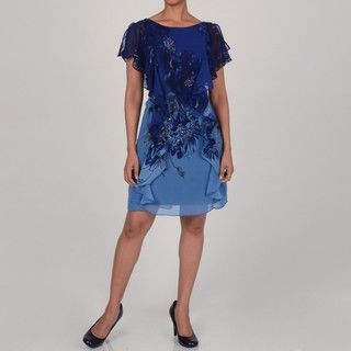 Jennifer West Womens Blue Floral Printed Shift Dress