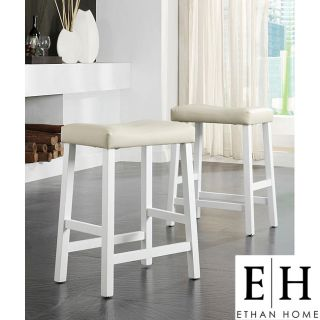ETHAN HOME Nova White Saddle Cushioned Seat 24 inch Counter Stool (set