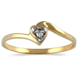 10k Yellow Gold Diamond Heart Promise Ring (I J, I1 I2)