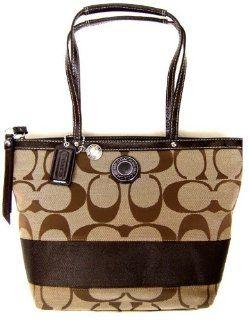 Stripe Lunch Shopper Bag Purse Tote 19046 Khaki Mahogany Shoes