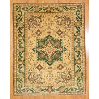 Afghan Hand knotted Oushak Gold/ Green Wool Rug (711 x 101